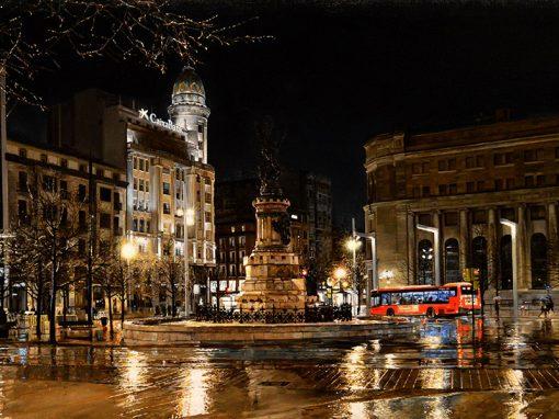 Plaza de España de Zaragoza, nocturno